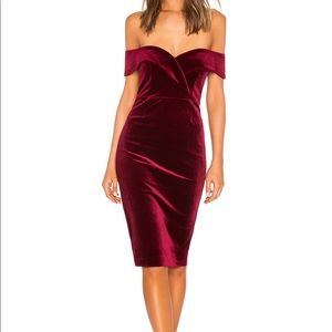 Bardot Bella Off the shoulder dress red velvet